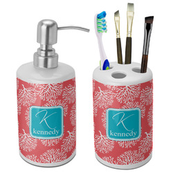 Coral & Teal Bathroom Accessories Set (Ceramic) (Personalized)