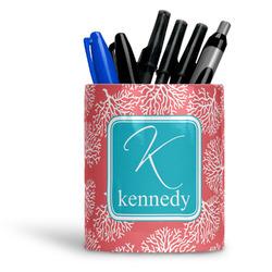 Coral & Teal Ceramic Pen Holder