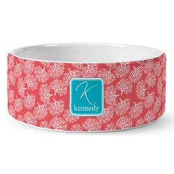 Coral & Teal Ceramic Pet Bowl (Personalized)