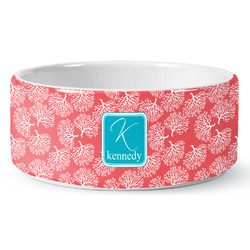 Coral & Teal Ceramic Dog Bowl (Personalized)
