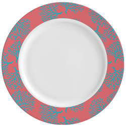 Coral & Teal Ceramic Dinner Plates (Set of 4) (Personalized)