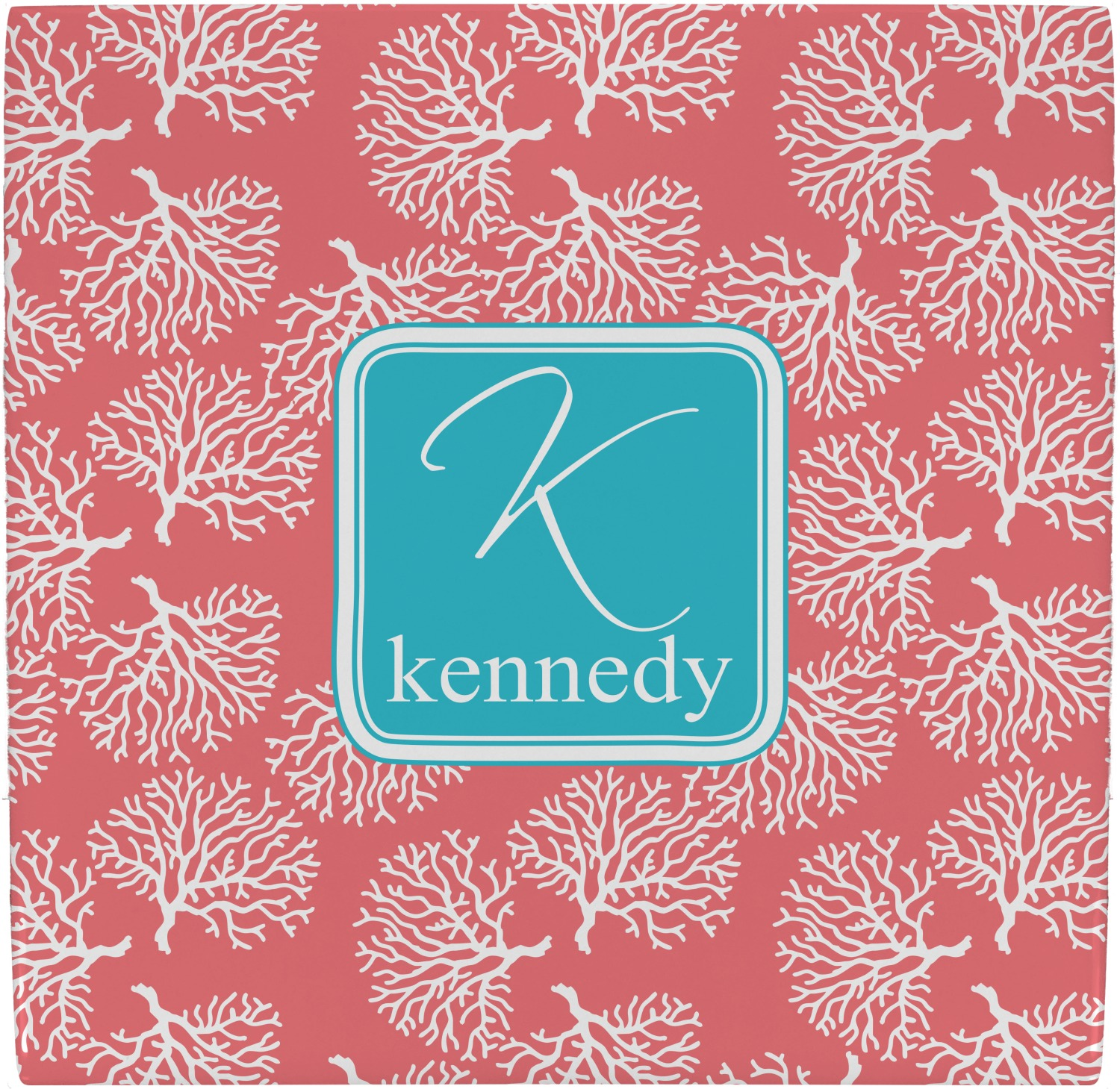 Coral & Teal Ceramic Tile Hot Pad (Personalized) - YouCustomizeIt