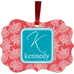 Coral & Teal Ornament (Personalized)