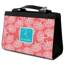 Coral & Teal Classic Tote Purse w/ Leather Trim (Personalized)