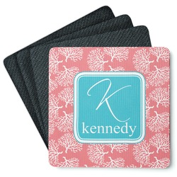 Coral & Teal 4 Square Coasters - Rubber Backed (Personalized)