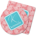 Coral & Teal Rubber Backed Coaster (Personalized)