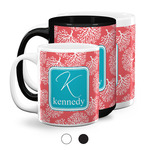 Coral & Teal Coffee Mugs (Personalized)