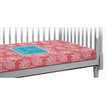 Coral & Teal Crib Fitted Sheet (Personalized)