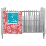Coral & Teal Crib Comforter / Quilt (Personalized)