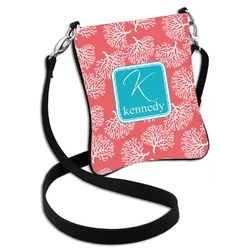 Coral & Teal Cross Body Bag - 2 Sizes (Personalized)