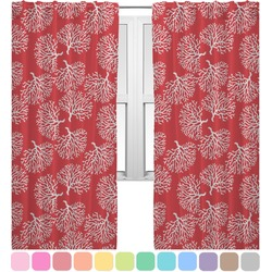 Coral & Teal Curtains (2 Panels Per Set) (Personalized)
