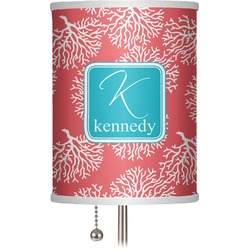 """Coral & Teal 7"""" Drum Lamp Shade (Personalized)"""