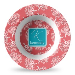 Coral & Teal Plastic Bowl - Microwave Safe - Composite Polymer (Personalized)