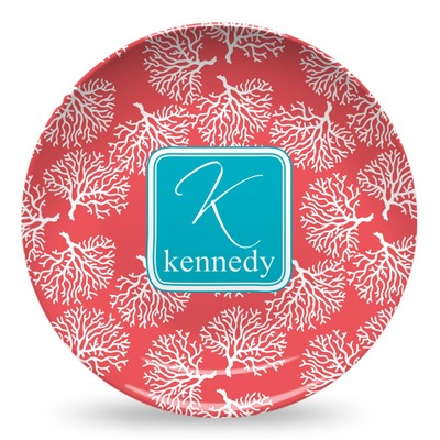 Coral & Teal Microwave Safe Plastic Plate - Composite Polymer (Personalized)
