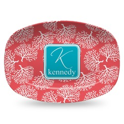 Coral & Teal Plastic Platter - Microwave & Oven Safe Composite Polymer (Personalized)
