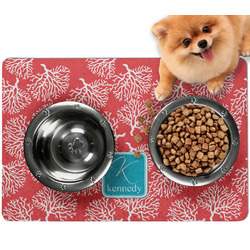 Coral & Teal Dog Food Mat - Small w/ Name and Initial