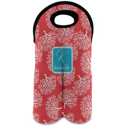 Coral & Teal Wine Tote Bag (2 Bottles) (Personalized)
