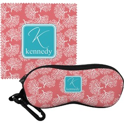Coral & Teal Eyeglass Case & Cloth (Personalized)