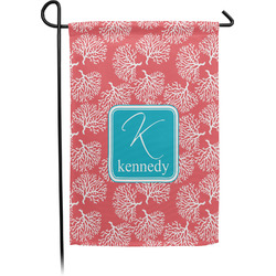 Coral & Teal Garden Flag - Single or Double Sided (Personalized)