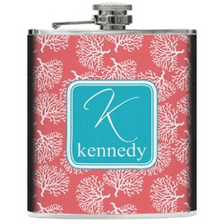 Coral & Teal Genuine Leather Flask (Personalized)