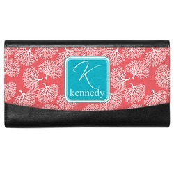 Coral & Teal Genuine Leather Ladies Wallet (Personalized)
