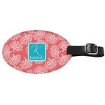 Coral & Teal Genuine Leather Oval Luggage Tag (Personalized)