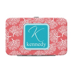 Coral & Teal Genuine Leather Small Framed Wallet (Personalized)