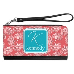 Coral & Teal Genuine Leather Smartphone Wrist Wallet (Personalized)
