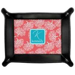 Coral & Teal Genuine Leather Valet Tray (Personalized)