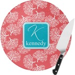 Coral & Teal Round Glass Cutting Board (Personalized)