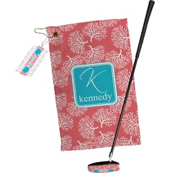 Coral & Teal Golf Towel Gift Set (Personalized)