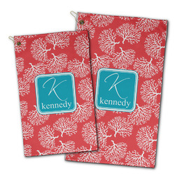 Coral & Teal Golf Towel - Full Print w/ Name and Initial