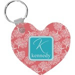 Coral & Teal Heart Keychain (Personalized)