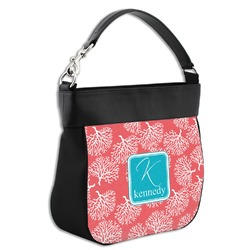 Coral & Teal Hobo Purse w/ Genuine Leather Trim (Personalized)