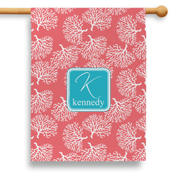 """Coral & Teal 28"""" House Flag (Personalized)"""