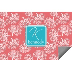 Coral & Teal Indoor / Outdoor Rug (Personalized)