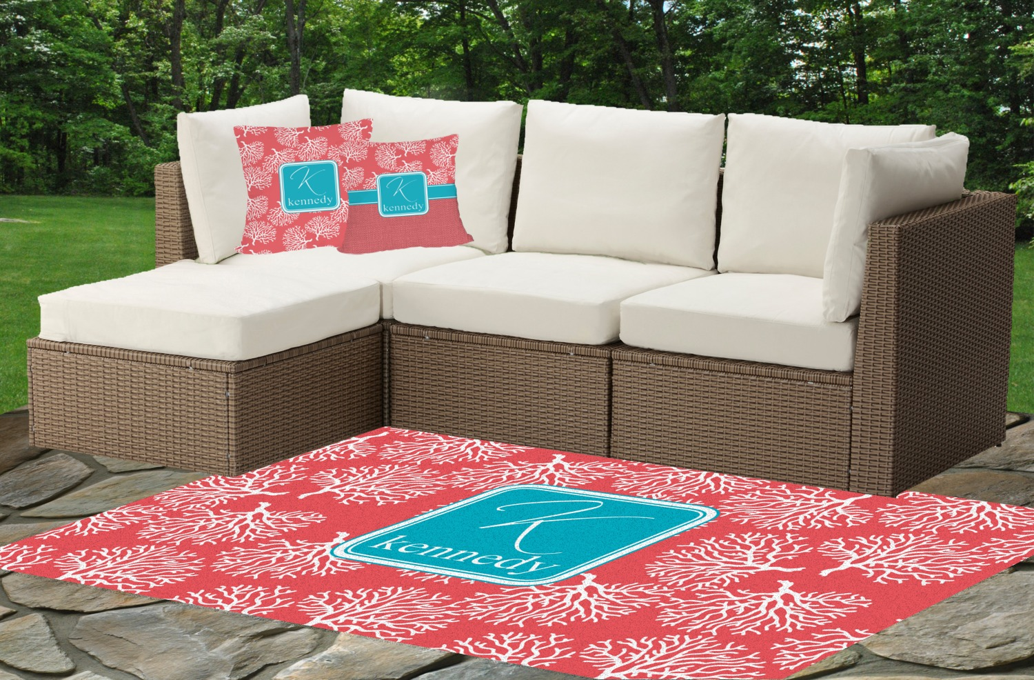 Coral & Teal Indoor Outdoor Rug Personalized YouCustomizeIt