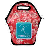 Coral & Teal Lunch Bag w/ Name and Initial