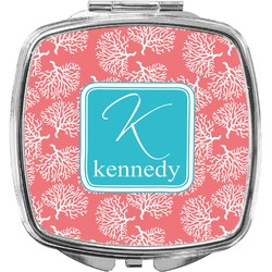 Coral & Teal Compact Makeup Mirror (Personalized)
