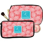 Coral & Teal Makeup / Cosmetic Bag (Personalized)