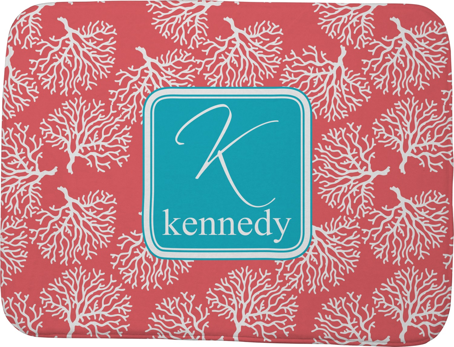 Coral Amp Teal Memory Foam Bath Mat Personalized