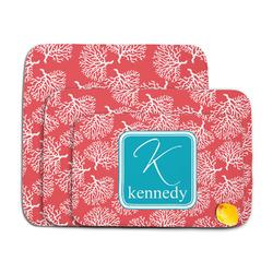 Coral & Teal Memory Foam Bath Mat (Personalized)