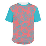 Coral & Teal Men's Crew T-Shirt (Personalized)