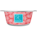 Coral & Teal Stainless Steel Pet Bowl (Personalized)