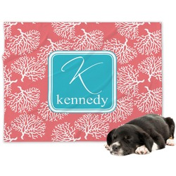 Coral & Teal Minky Dog Blanket - Large  (Personalized)