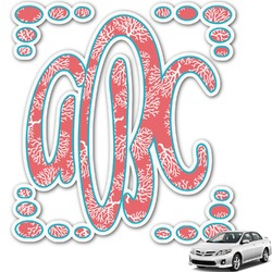 Coral & Teal Monogram Car Decal (Personalized)