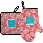 Coral & Teal Oven Mitt & Pot Holder (Personalized)