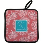 Coral & Teal Pot Holder w/ Name and Initial