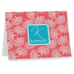 Coral & Teal Note cards (Personalized)