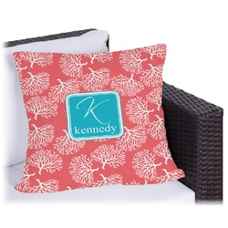 Coral & Teal Outdoor Pillow (Personalized)